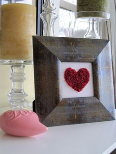 beaded #heart in frame for #valentines day