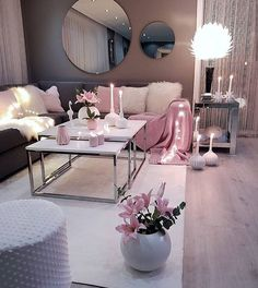 Living room setup grey pink and white colour scheme - - Wohnkultur Ideen - Wohnzimmer Pink Living Room, Apartment Living Room Design, Apartment Living Room, Room Inspiration, Apartment Decor, Living Room Grey, Room Setup, Living Room Decor Cozy, Living Decor