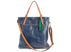 Blue leather tote large crossbody bag oversized by Percibal