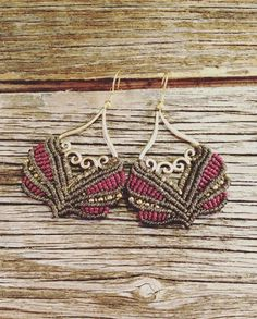 Oriental boho macrame earrings in olive red by JoyMadebySahraJoy