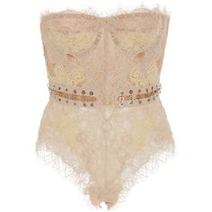 Jonathan Simkhai Grommet Lariat Lace Bustier ($745) ❤ liked on Polyvore featuring intimates, tops, bodysuits, neutral, jonathan simkhai, lace bustier, lace body suit, bustier bodysuit and lace bodysuit