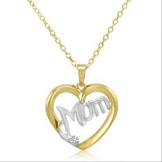 Two Tone Diamond Mom Heart PendantNecklace in Gold over Sterling Silver *** Click on the image for additional details.