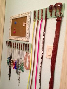 If you have a lot of belts and little room in the closet or drawers, you can make a great organizer using just a few clothes pins and a strip of wood. You just have to hot glue the clothes pins to the wood strip and then use them to hold your belts. This is also a great idea for jewelry, scarves or other things that you need to hang