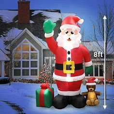 6.4 Feet Inflatables Christmas Lighted Santa Claus Blow Up Indoor Outdoor Decor