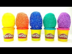 FOAM CLAY Surprise Eggs and RAINBOW Play Doh Cans with Toys - LEARNING COLOURS Video for Kids
