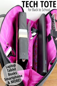 Tech Tote for Back to College More totebagsforcollege Bags For College Students, Tote Bags For College, Tote Bags For School, College Necessities, Nurse Bag, College Organization, Organizing, School Supplies, Back To College Supplies