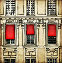 Paris centre  - Paris illustration - Art print - Paris art illustration - Paris decor - Paris windows, red, beage, France, French. $20.00 USD, via Etsy.