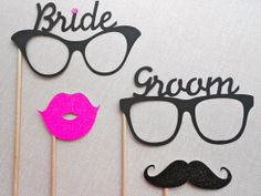 Bride and Groom Glasses Photo Prop Set. Photo by ThePropMarket, $12.00