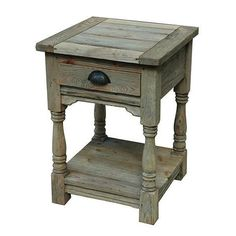 Coastal Wood Storage Cabinet, End Table