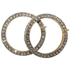 Turkish Diamond Silver Gold Bangle Bracelets | From a unique collection of vintage bangles at https://www.1stdibs.com/jewelry/bracelets/bangles/