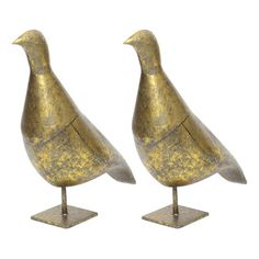 Set of 2 Vintage Gold Bird Sculptures - $175