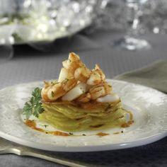 Milhojas de patata, sepia y gamba