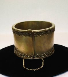 15 Karat Handmade, Victorian Gold, Cuff Bangle With Unique, Raised Filagree Trim On Top And Bottom,   Over 100 Years Old  Circa 1890's From England.
