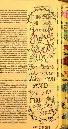 Easy Bible Art Journaling Journey: 2 Samuel 7:22 (May 26th)