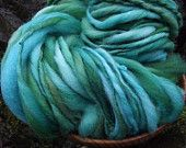 Handspun art yarn, Merino handpainted yarn, super bulky thick and thin-Ariel