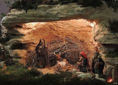 """this """"cave"""" looks like it's from an aquarium. The detail of the people are amazing Nativity, Aquarium, Scene, Amazing, Christmas, Painting, Detail, People, Ideas"""