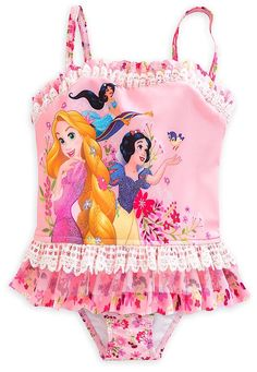33b5c552d Amazon.com  Disney Store Little Girls  Disney Princesses Glitter Accents  Deluxe Swimsuit  Clothing