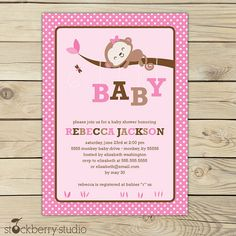 baby girl shower invitations free printables | Baby Girl Monkey Shower Printable Invitation by Stockberry Studio ...