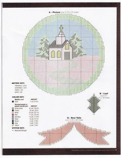 Chapel in winter - 3 Plastic Canvas Ornaments, Plastic Canvas Crafts, Plastic Canvas Patterns, Needlepoint Patterns, Cross Stitch Patterns, Cross Stitch Christmas Ornaments, Christmas Patterns, Canvas 5, Stitch Pictures
