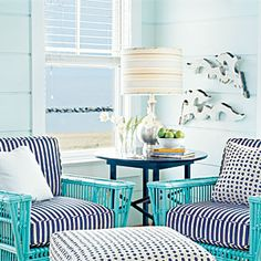 Paint walls a muted hue. Then use a darker shade of the same color on furniture or accessories. It will emphasize the wall color and prevent the room from looking washed out.Coastal Colors: Seaglass | Similar Shades | CoastalLiving.com