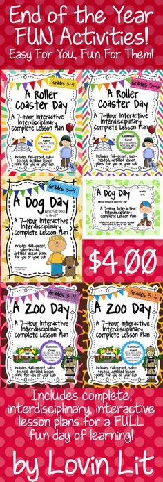End of the Year Activities for 3rd, 4th, 5th, and 6th grades! Easy for you, fun for them. These packets include complete interdisciplinary lesson plans for a FULL fun day of learning! Students construct a lap book with all of the included activities as a culminating activity.