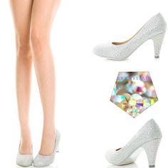 Glitter Rainbow Rhinestone Crystal Med Low Heel Prom Dress Bridal Pump Sandal US #ChaseChloe #Stilettos