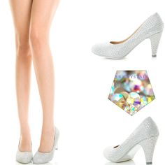 Glitter Rainbow Rhinestone Crystal Med Low Heel Prom Dress Bridal Pump Sandal US #ChaseChloe #Stilettos
