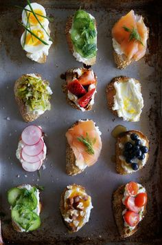 Crostini are the ultimate party food and a ricotta crostini is the perfect blank canvas to show off both savory and sweet creations. The wonderful thing about ricotta crostini is that fresh ricotta can be made a day ahead. This is a smorgasbord of some of my favorite flavor combinations, but the possibilities are endless!