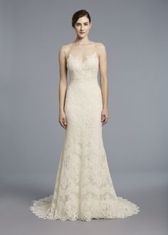KENNEDY  - Anne Barge, Spring 2018 | Wedding dress with a sheer bateau neckline and column sheath silhouette of French Alencon lace over silk chiffon