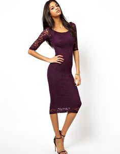 Thin Slim Round Neck Lace Three-quarter Sleeve Dress Red&Black Over Knee Dresses #SM #WrapDress #Clubwear