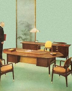 Step proudly into this office for living… 1955. Fantastic Mid Century Modern Office Furniture.