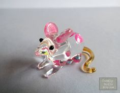 Tiny Pink Flower Rat Mouse Hand-blown Painted Glass Animal Figurine Nice Collectible Gifts Mouse Glass Figurine Rat Glass Figurine Miniature by cuddlydolls on Etsy