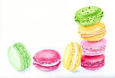 Colourful Macarons 2   ORIGINAL Painting Desset por ForestSpiritArt, £22.00