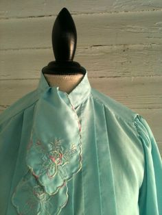 Vintage Blouse  1970s MINT Green Blouse w embroidered ascot by runaroundsuevintage, $26.00