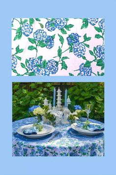 These beautiful hydrangea floral table settings make hosting a stylish summer lunch a breeze. Set the most perfect summer table with my Hydrangea floral table linens. Hand Printed Fabric, Printing On Fabric, Table Setting Inspiration, Beautiful Table Settings, Tablecloth Fabric, Elegant Table, Napkins Set, Inspirational Gifts, Table Linens