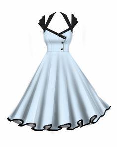 Rockabilly Retro Swing Dresses Baby blue and black dress