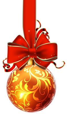 Christmas Ball with Red Bow PNG Clipart Image