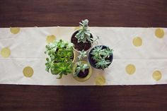 DIY Gold Polka Dot Table Runner | Lovely Indeed