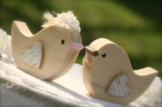 Wedding Cake Topper Love Birds Woodland Wedding by primitiveseason, $16.75