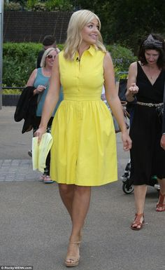 Sunny disposition: Holly Willoughby stepped out in a canary yellow gown after filming This Morning, on Monday Holly Willoughby Legs, Holly Willoughby Outfits, Classy Outfits, Stylish Outfits, Fashion Outfits, Work Outfits, Fashion Fashion, Fashion Ideas, Vintage Fashion