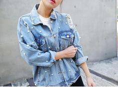 [Soonyour] 2016 горячий Новый Корейский Осень Личности жемчуг Ковбой Свободные Пальто синяя Куртка Женщина мода тонкий WTH2685Sкупить в магазине soonyour fashionable StoreнаAliExpress