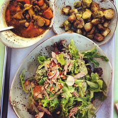 Garbanzo Vegan soup, grilled brussel sprouts & duck salad!! Photo by @irandaniel