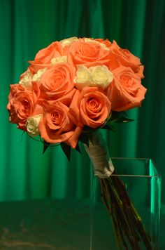 Orange rose bouquet. #flowers #wedding #roses