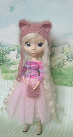 Pullip hat cat cocoa mohair pullip helmet knitted hat for
