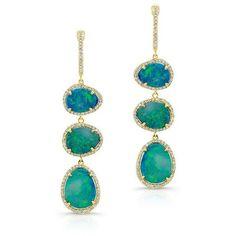 14KT Yellow Gold Blue Opal Diamond Triple Drop Earrings