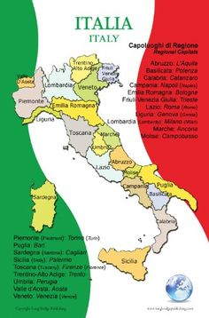 Poster in Italian - Map of Italy and Its Regions, for Classroom, Playroom and Language Learning (Bilingual: Text in Italian and English) - Easy Way to Effortlessly Learn Every Day - This colorful chart comes in a convenient size of 11x17 inches that will not crowd your walls - Perfect for decorating any Italian themed space or event. http://www.amazon.com/dp/B0093SHTRW/