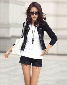 Fashion Korea Style Rivet Embellished Coat For Women China Wholesale - Sammydress.com