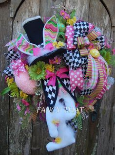 A personal favorite from my Etsy shop https://www.etsy.com/listing/490193156/easter-bunny-wreath-easter-wreath-deco