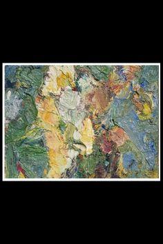 """Eugène Leroy - """"Bouquet de fleur"""", 1958 - huile sur toile - 80 x 42 cm (*)"""