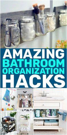16 Lebensverändernde Badezimmer-Organisations-Hacks - Home Decor - bathrooms ideas Organisation Hacks, Organizing Hacks, Cleaning Hacks, Bathroom Towel Storage, Bathroom Organization, Life Organization, Bathroom Ideas, Bathroom Inspo, Bathroom Vanities